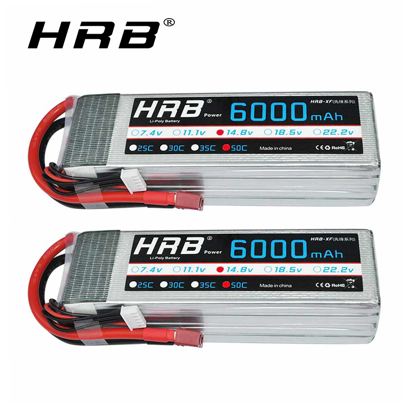 2pc HRB 4S Lipo Battery 14.8V 6000mAh 50C with Deans T Plug for Trxe Slash X Maxx RC Buggy Truggy Monster Car 550 600 helicopter-in Parts & Accessories from Toys & Hobbies    1