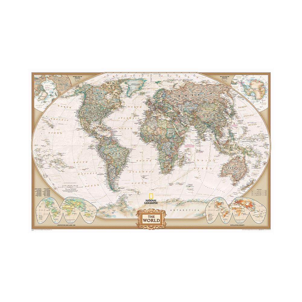 150x225cm The World Physical Map Non-woven Map Of Important Rivers In The World For Geographical Research