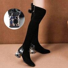 Bottes hautes à la mode pour femme, cuissardes au dessus du genou, strass, talons hauts, chaussures d'hiver
