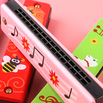 Baby Toys 16 Hole Harmonica For Beginners  Wooden Educational Baby Kids Children Harmonica Toy Musical Instrument For 2 To 4 Y
