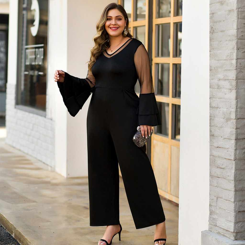 Women Sexy Jumpsuit New Plus Size V-neck Mesh Stitching Petal Sleeves High Waist Wide Leg Trousers Fall Fashion Casual Rompers#A