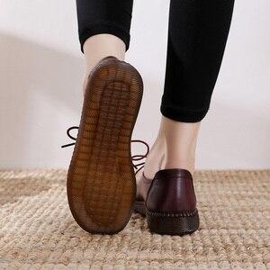 Image 5 - GKTINOO 2020 Frühling Herbst Handarbeit Aus Echtem Leder Flache Beiläufige Schuhe Frau Niedrigen Ferse 2,5 cm Weichen Boden Spitze Up Weibliche schuhe Flache