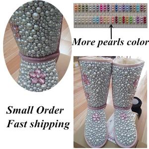Image 5 - Dollbling Botas de perlas personalizadas para bebé, botas de perlas personalizadas hechas a mano de lujo para bebé, abalorios de marfil para invierno