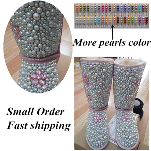 Image 5 - Dollbling maman Daugther bébé personnalisé perles bottes personnalisé à la main de luxe bienvenue infantile ivoire perles hiver Botties