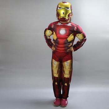 Movie hero Iron Costume  for kids mask  War Infinity Kids Boys Girls Halloween Superman Party Muscle Ironman Cosplay