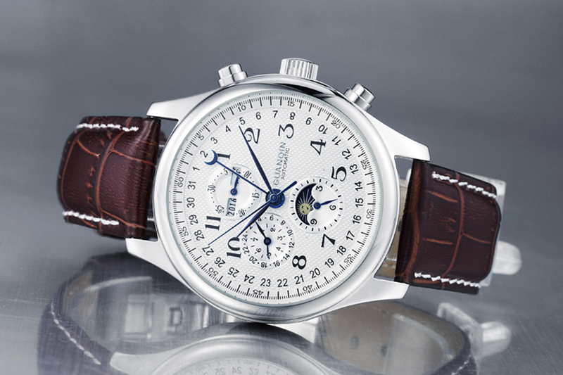 H0b81884f31c847b5ba82d5f2e4ca80b5f GUANQIN Relogio Masculino Automatic Mechanical Men Watches Waterproof Calendar Moon Leather Wristwatch otomatik erkek saat