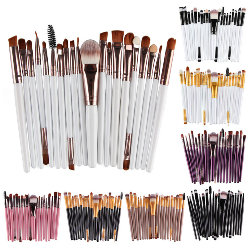 20Pcs Makeup Brushes Set Professional Plastic Handle Soft Synthetic Hair Powder Foundation Eyeshadow Make Up Brushes Cosmetics