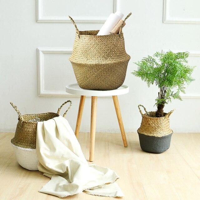Natural Seagrass Basket Foldable Laundry Basket Bamboo Woven Storage Basket Wicker Rattan Flower Pot Handmade Straw Plant Basket