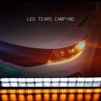 Tira de luces LED Flexible con señal de giro DRL, luces diurnas con función amarilla, 2 uds. 50cm