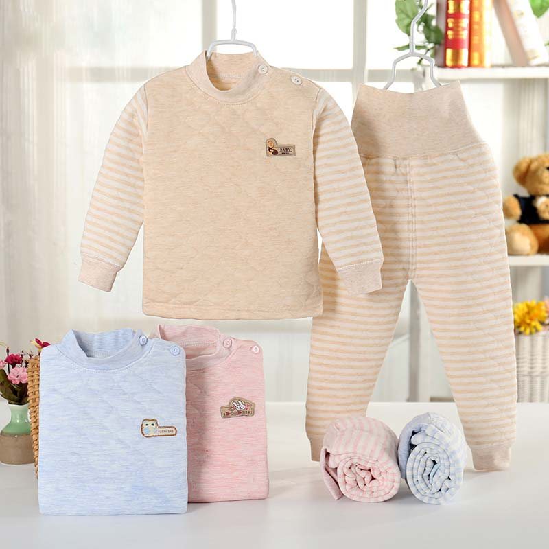 Children's colored cotton thickened underwear set infant thickened autumn clothes and trousers