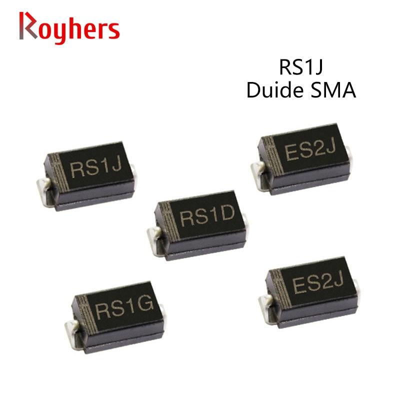 Pcs SMD Recuperação Do Diodo de Retificador RS1K RS1J RS1B 50 RS1M RS1G RS2M RS1D RS1A 1A 50V 100V 200V 400V 600V 800V 1000V SMA DO-214AC