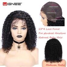Wignee 13x4 кружевные передние кудрявые человеческие волосы парики с детскими волосами для черных женщин бразильские волосы remy 150% высокая плотность шнурка человеческие парики
