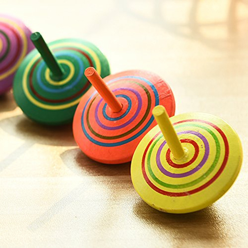 Multicolor Wooden Spinning Top Toy Handmade Painted Wooden Toys Perfect Balance Desktop Toy, Pack Of 10