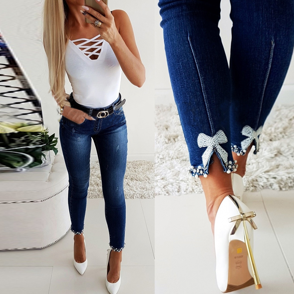 2020 Jeans Woman Fashion Ladies Pearl Lace Stitching Skinny Pencil Pants High Waist Jeans Women Slim Female Denim Trousers D25