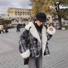 Mishow 2019 冬ショートウールコート女性暖かいチェック柄ルーズコートビッグ毛皮の襟厚いウールジャケットコートMX18D8211