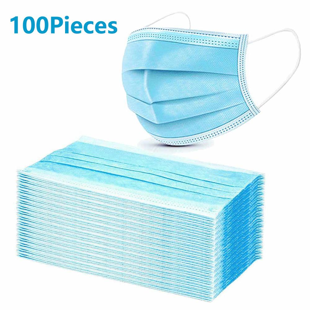 100PCS Disposable Face Mask Respirator Multi Layers Filter Pad Virus Prevention Safety Anti-Dust Protective Face Mouth Masks