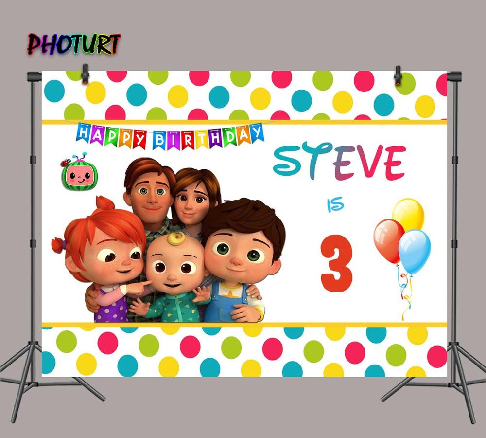 Children Cartoon Backdrop Cartoon Cocomelon Family Theme Photography Background Backdrop Banners Birthday Party Newborn Baby Shower Portrait Photo Backdrop Yellow Hat Puppet Video Shooting Background