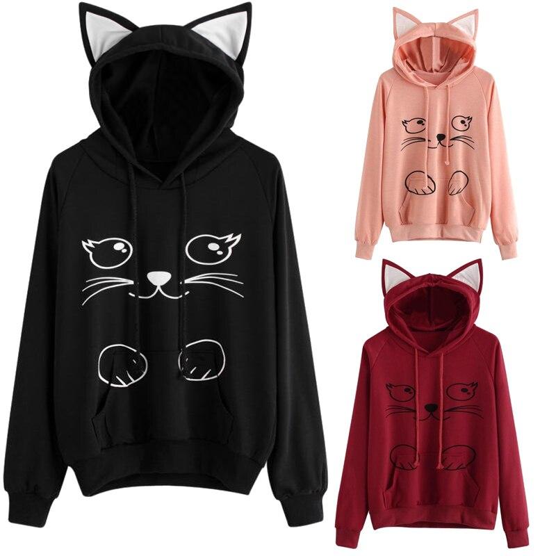 Women Hoodies Sweatshirt Kawaii Cat Print Pattern Long Sleeve Hooded Sweatshirts