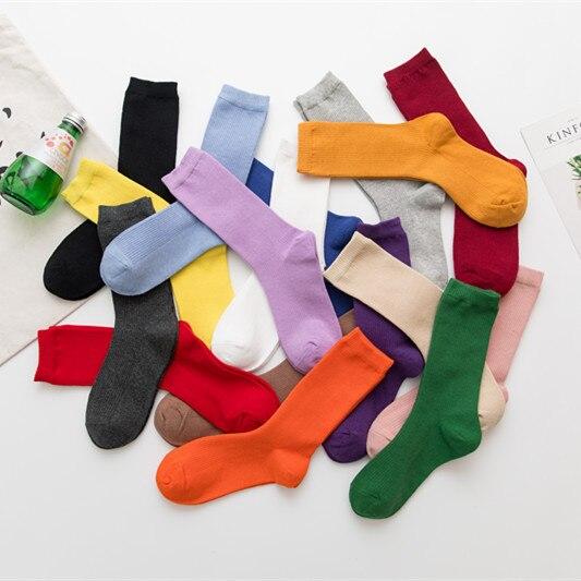 Новинка 2021, женские носки, однотонные носки, женские носки Харадзюку, цветные носки, милые модные носки фиолетового, розового, желтого, белог...