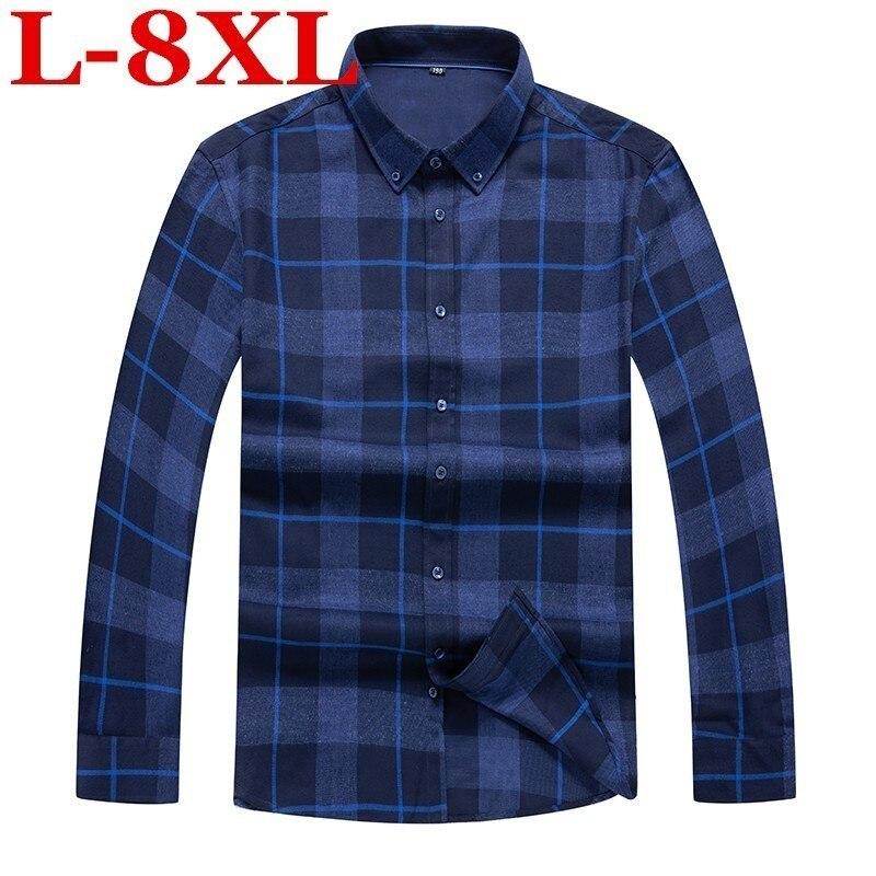 Plus Size 8xl  7xl  Autumn New  Plaid Men Dress Shirt Formal Fashion Long Sleeve Brand Business Men Casual Shirt Regular Fit
