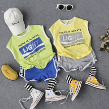 90-130cm new 2020 summer casual letter sport boys clothing sets 2pcs kids t shirt+pant clothes sets boys summer clothes sets cheap L L Harrison Fashion O-Neck Pullover COTTON Unisex Sleeveless REGULAR Fits true to size take your normal size Coat striped