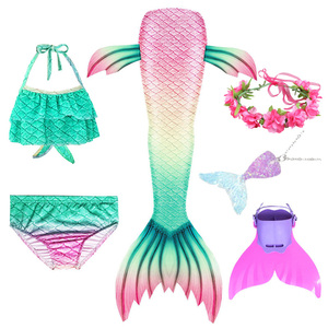 Image 2 - Swimmable Children Mermaid Tails With Monofin Fin Bikinis Set Kids Swimsuit Cosplay Costume for Girl Swimming Dresses Clothes