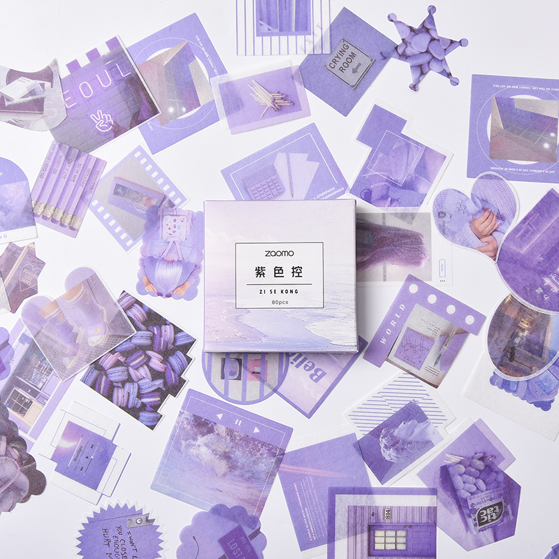 80 Pcs/pack Purple Bullet Journal Stickers Cute Decorative Stationery Sticker Scrapbooking DIY Diary Stick Label Escolar