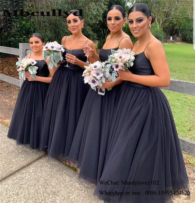 Mbcullyd Puffy Tulle Bridesmaid Dresses Long 2020 African Wedding Guest Dress Formal Black Vestidos De Fiesta De Noche Cheap