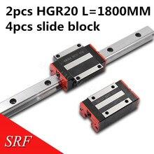 Rail de guidage linéaire, partie dimpression 3D, 20mm de largeur, 2 pièces HGR20 L = 1800mm avec 4 pièces HGH20CA ou HGW20CC bloc coulissant