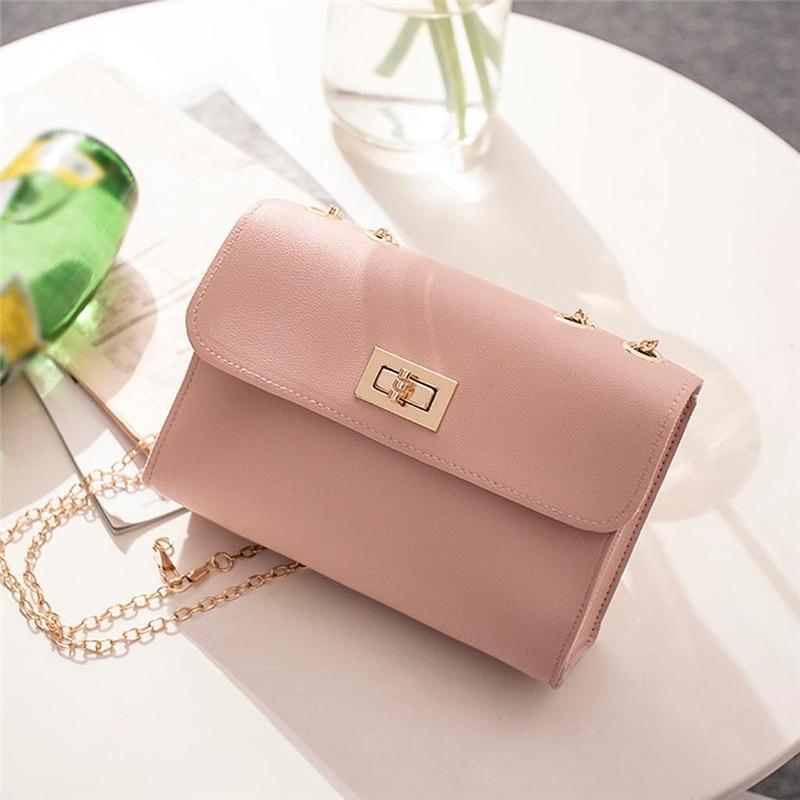 British Fashion Simple Small Square Bag Women's Designer Handbag 2019 High-quality PU Leather Chain Mobile Phone Shoulder Bags
