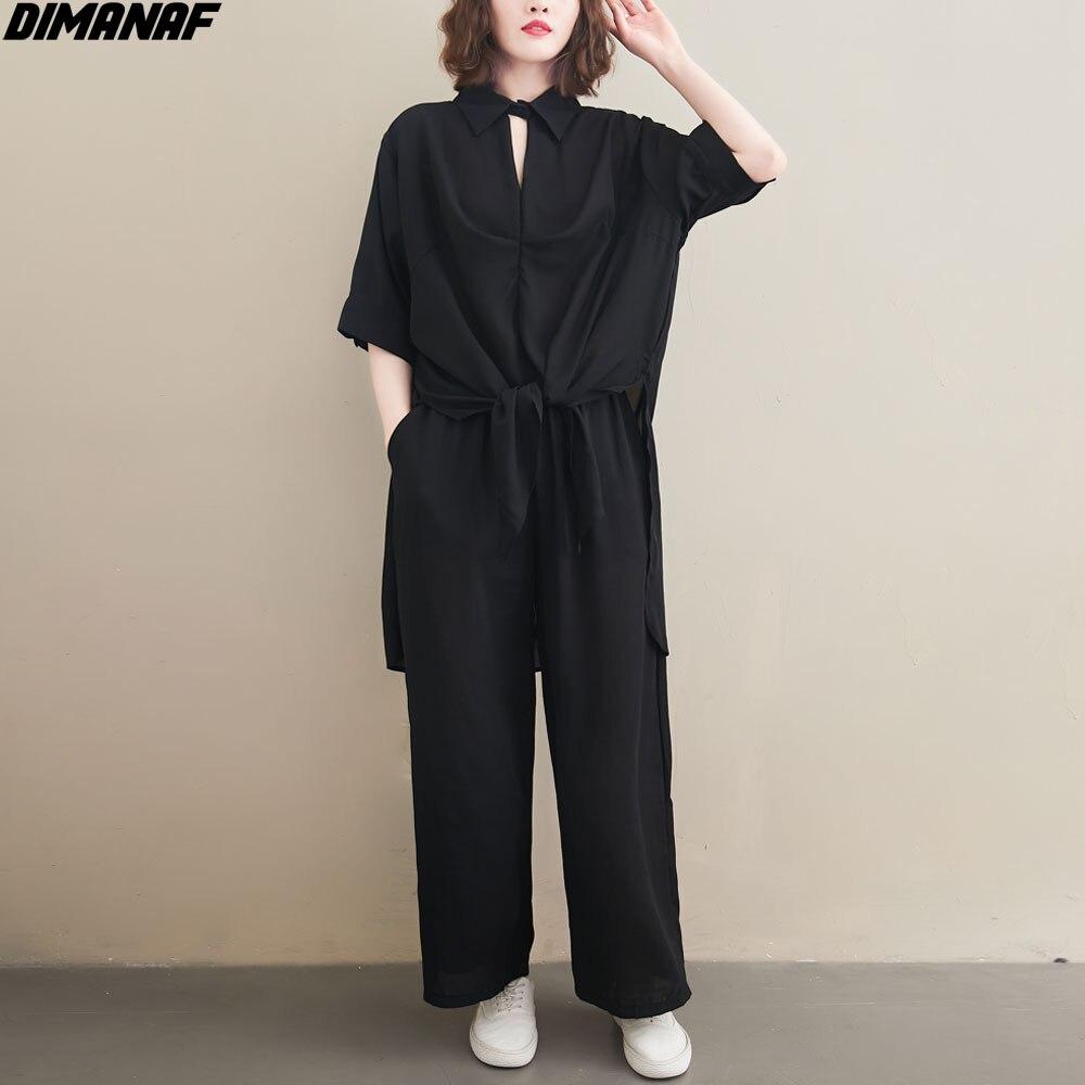 DIMANAF Plus Größe Frauen Bluse Zwei Stück Set Shirts Sommer V-ausschnitt Chiffon Büro Dame Tops Anzug Casual Feste Weibliche Kleidung 2021