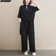 DIMANAF-Blusa de talla grande para mujer, conjunto de dos piezas con cuello en V, Tops de gasa para oficina, traje informal liso, ropa para mujer 2021