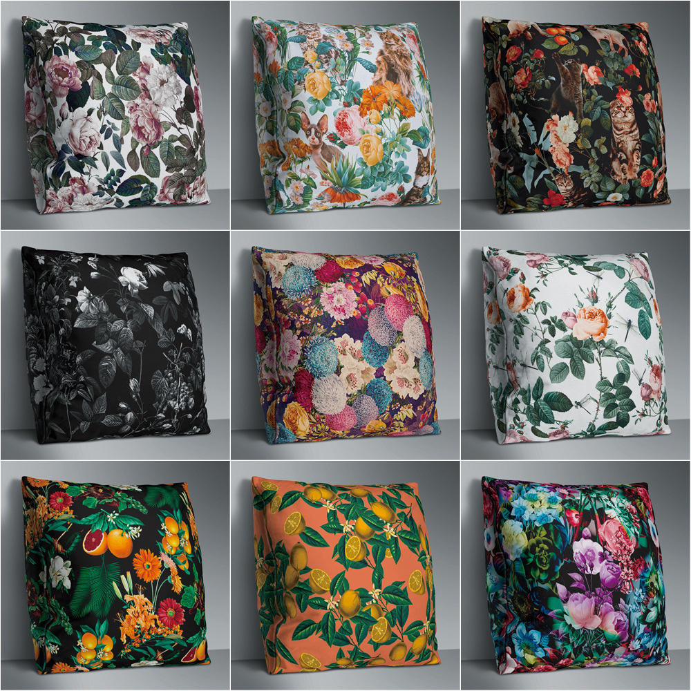Vintage Flower Double Side Print Cushion Cover Polyester For Sofa Seat Soft Throw Pillow Case Cover 45x45cm Home Decor