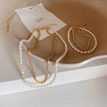 Collier ras du cou avec perles d'eau douce naturelles pour femmes, chaîne en métal, élégant, français, Double couche, bijoux en or court