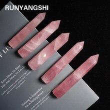 Runyangshi 1pc natural rosa ponto de cristal cristal rosa coluna mão polido hexágono para decoração de casa