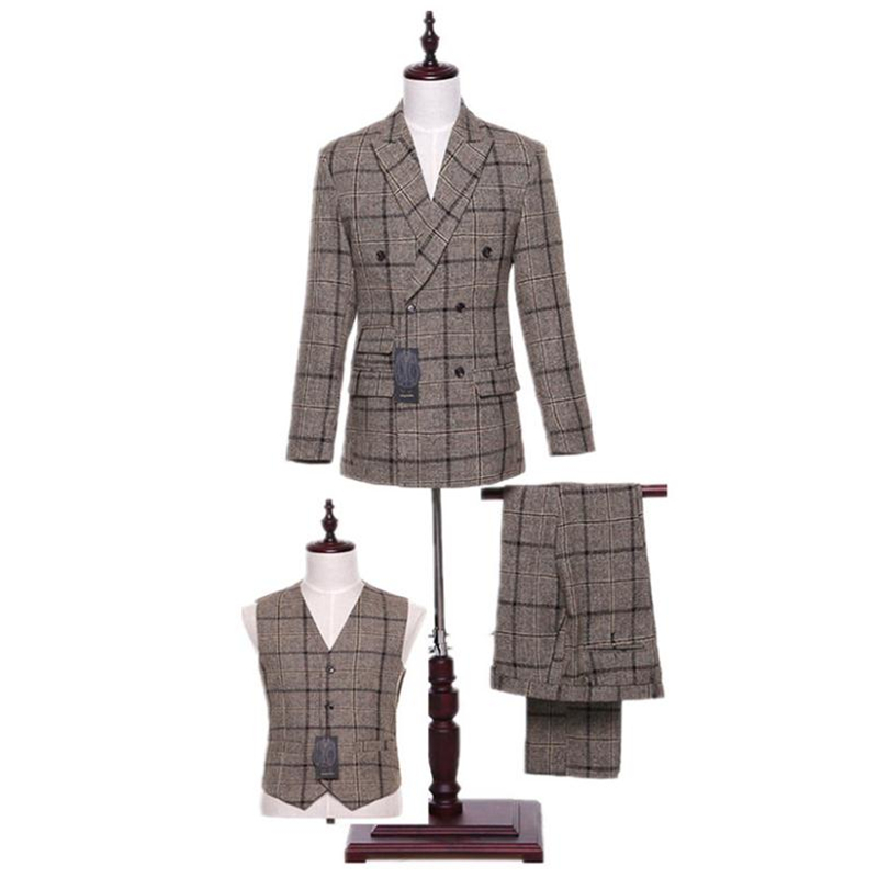 new  Design Mens Classic Suits Gray Plaid Fabrics Mens Suits Wedding Groom Tuxedo Double Breasted Mens Formal Wear Business Suit