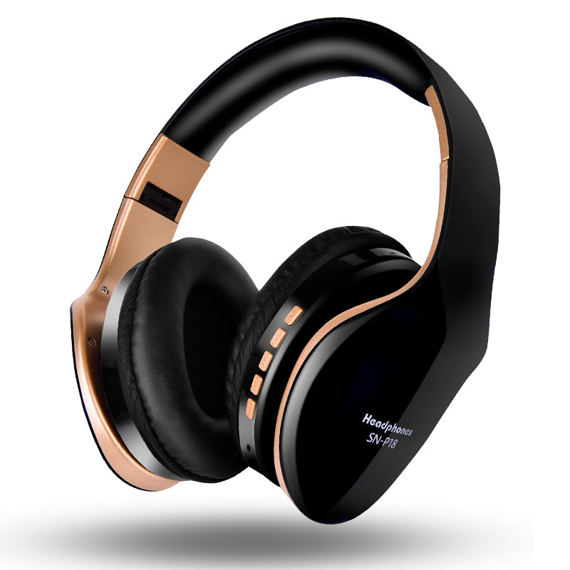 New P18 Wireless Headphones Bluetooth Headset Foldable Stereo Headphone <font><b>Gaming</b></font> <font><b>Earphones</b></font> <font><b>With</b></font> <font><b>Microphone</b></font> For PC Mobile phone Mp3 image