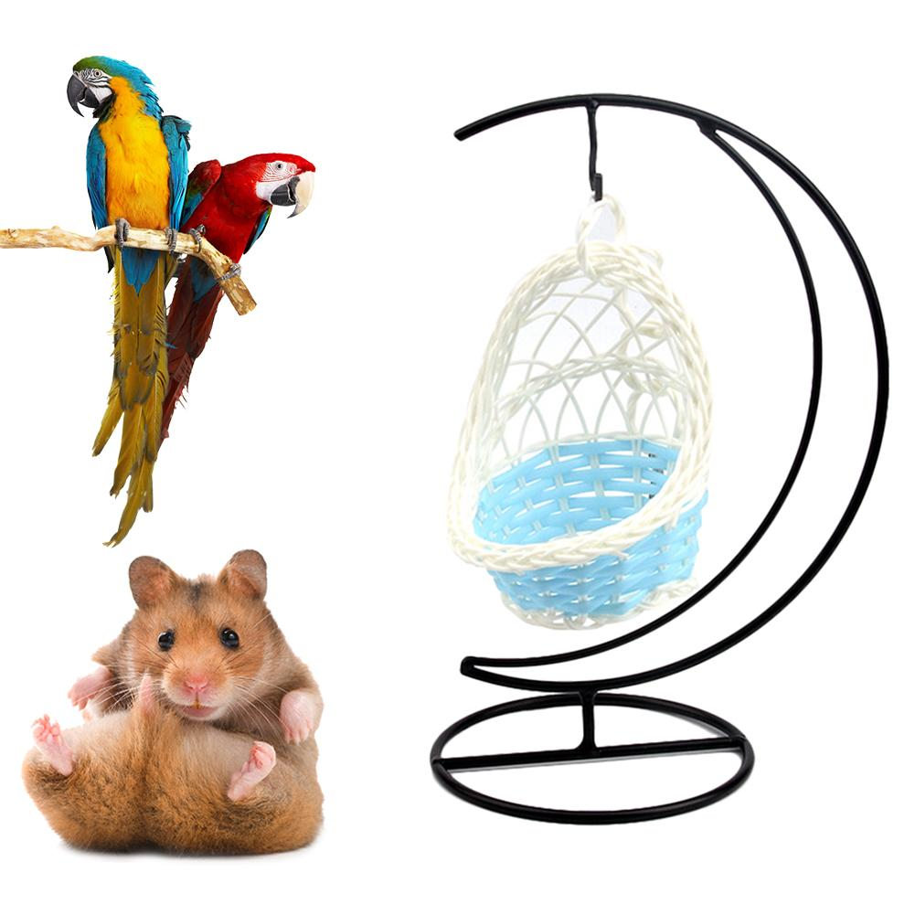 Hamster House Hamster Hammock Iron Garden Decorative Parrot Basket Small Pet Cradle Weaving Nest Hanging Bed Hamster Accessories