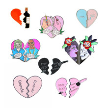 Best Friends Two Half Heart Metal Enamel Brooch Broken Wine Bottle Lighter Badge Pin Personality Trendy Costume Jewelry Gift(China)