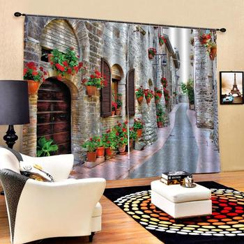 scenery road curtains Customized size Luxury Blackout 3D Window Curtains For Living Room Blackout curtain