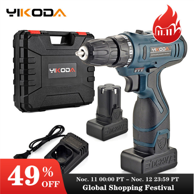 YIKODA 25V Electric Drill Rechargeable Lithium Battery Double Speed Wireless Driver Cordless Screwdriver Household Power Tools