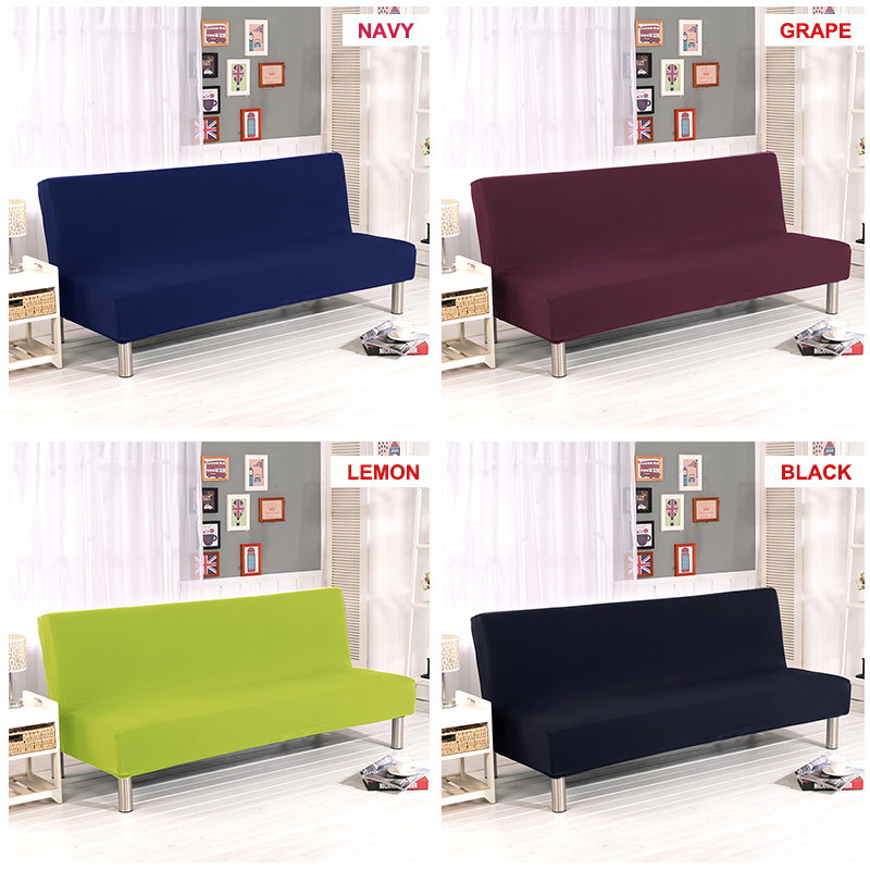 Universal Armless Sofa Bed Cover Solid Color Folding Cover Modern Seat Slipcovers Stretch Covers Couch Protector Elastic Futon