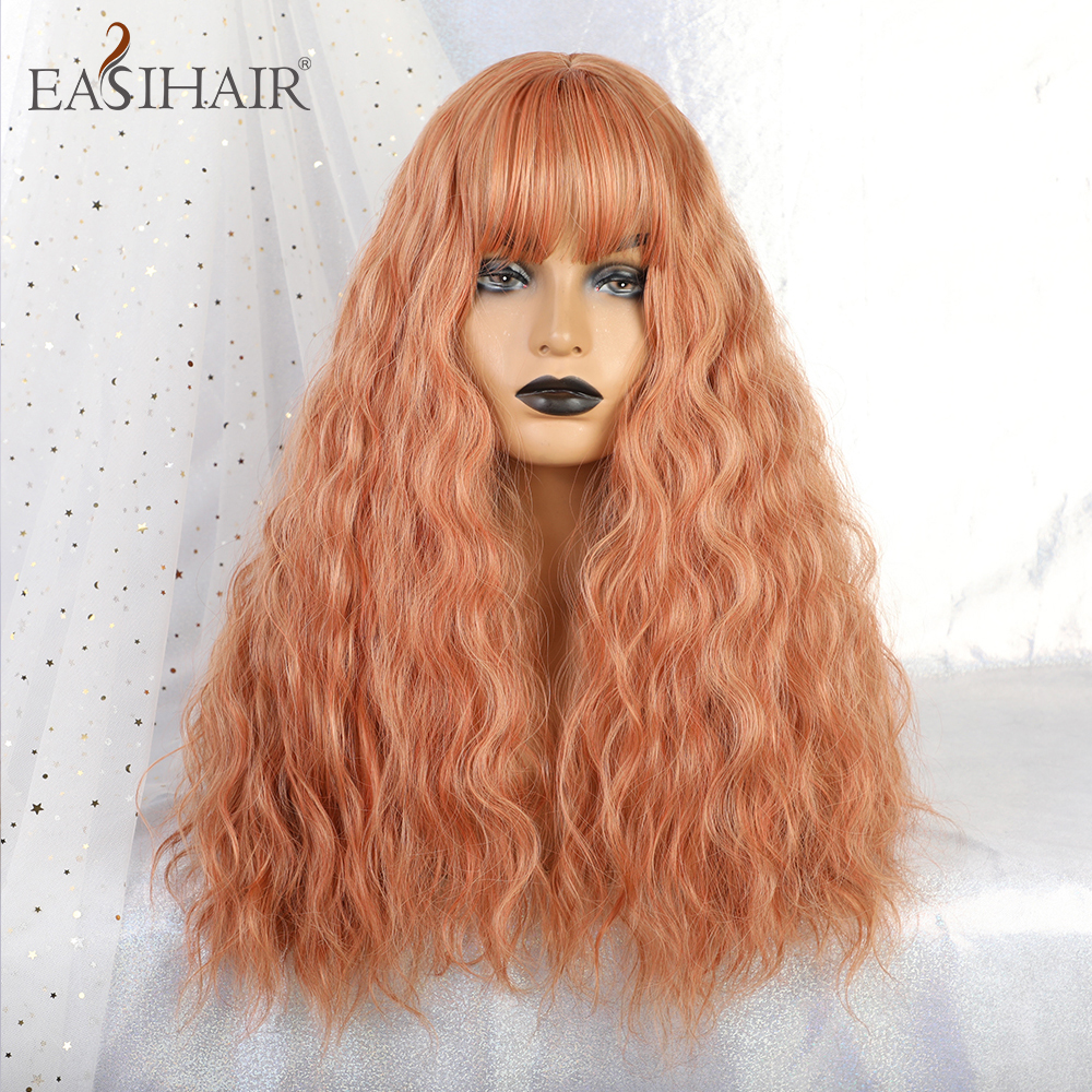 EASIHAIR Long Orange Colorful Cosplay Wigs With Bangs Synthetic Wigs For Women Lolita Heat Resistant Fiber Hair