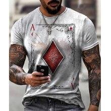 Estilo do crânio cartão de jogo diamante impressão retro masculina camiseta casual streetwear curto-mangas compridas t camisa para homem pulôver magro topos