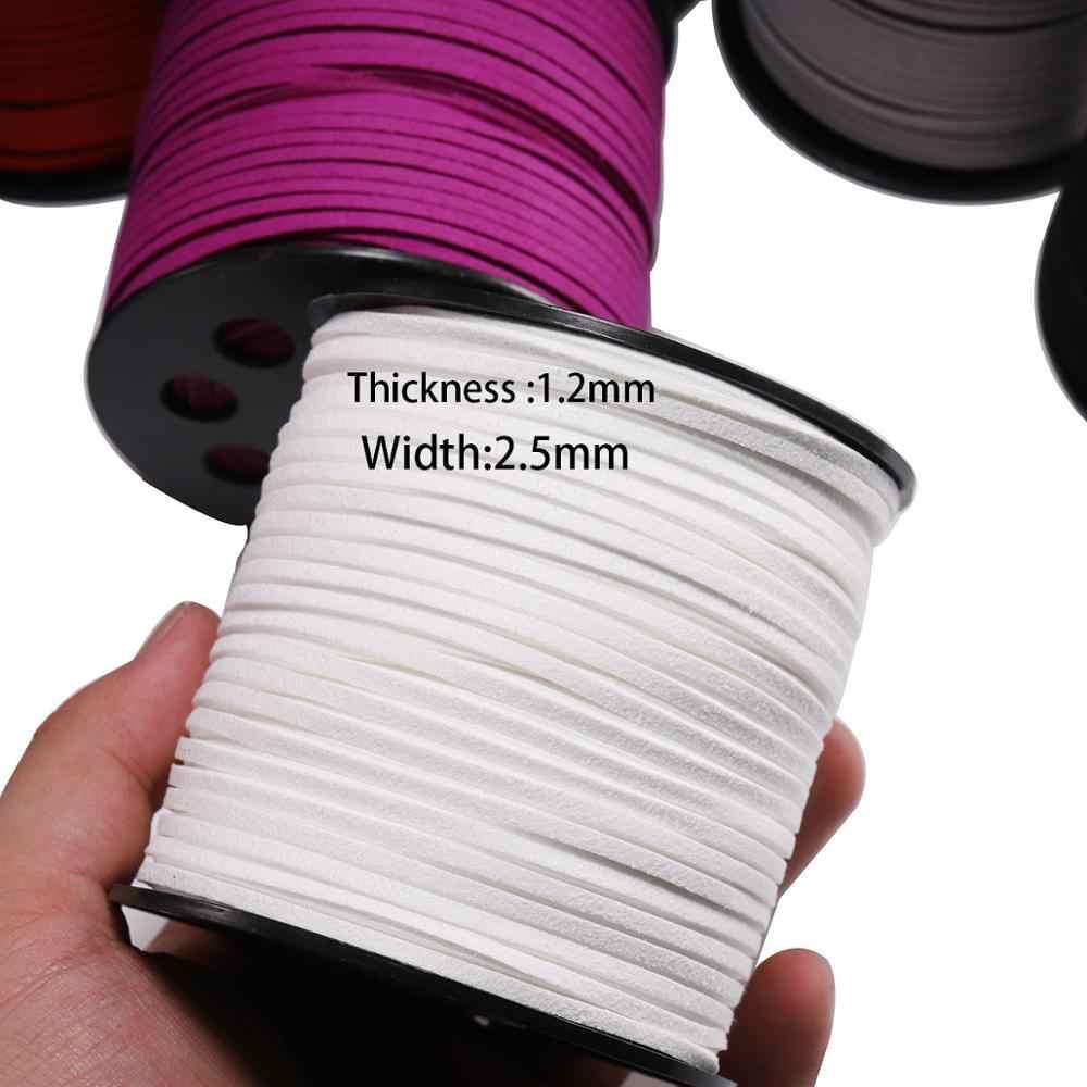 10 מטר\חבילה 2.5mm שטוח פו זמש קלוע כבל קוריאני קטיפה עור בעבודת יד חוט מחרוזת חבל עבור DIY תכשיטי ביצוע ספקי