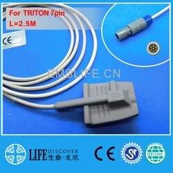 Sensor macio adulto longo do silicone spo2 do cabo para o monitor paciente de triton 7pin