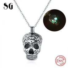 2018 Aliexpress authentic 925 sterling silver skull glowing pendant chain necklace diy fashion jewelry making for women gifts