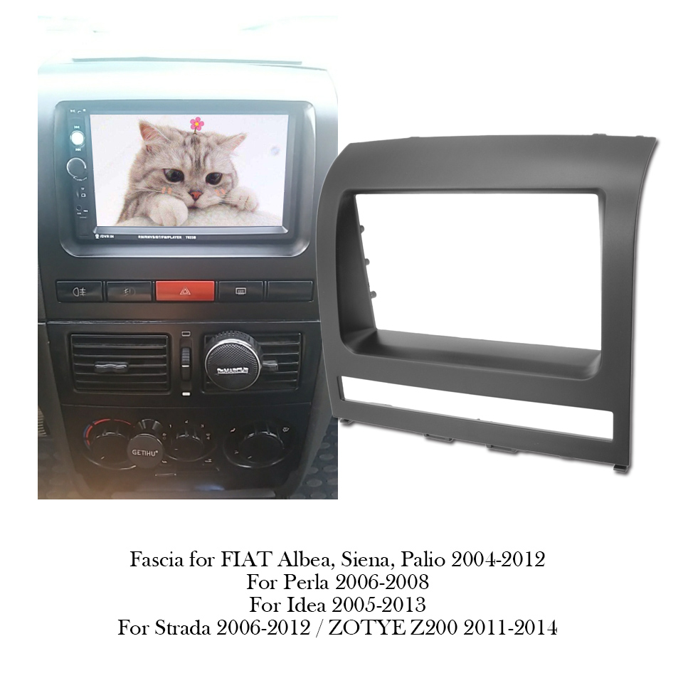 Fáscia do quadro do rádio do carro 2din para fiat albea/siena/palio 2004 - 2012 placa de painel estéreo dvd montagem traço instalação moldura