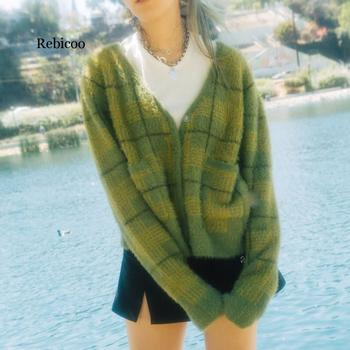 New Vintage Plaid Green Plush Knitted Cardigans V-Neck Loose Sweaters Autumn Winter Clothes Sweater Women