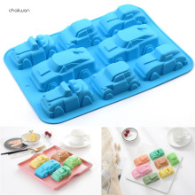 8 Holte Cartoon Auto Vorm Silicone Mold Chocolate Muffin Ice Bakken Pan Zeep Mal Bakvormen Kicthen Fondant Cake Decoratie Tool(China)